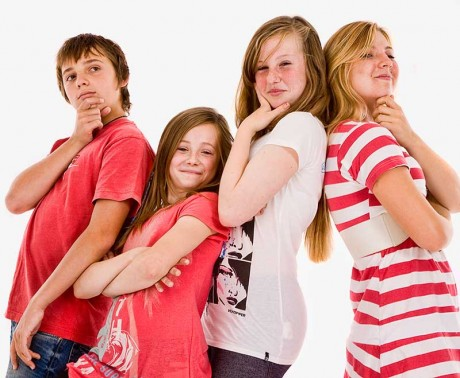 Teenagers in family photo-shoot