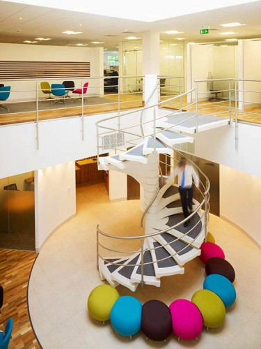 Interior Atrium and spiral staircase by Commercial Space Planners