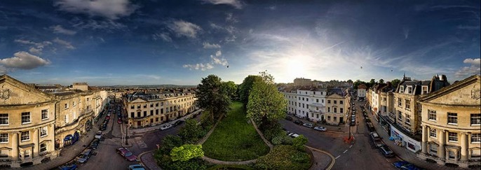 The Mall and Caledonian Place and Balloons Clifton Bristol Elevated Panoramic Photo