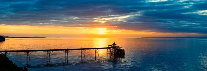 Sunsets over Clevedon Pier, Steepholm and Flatholm, panorama of Bristol Channel