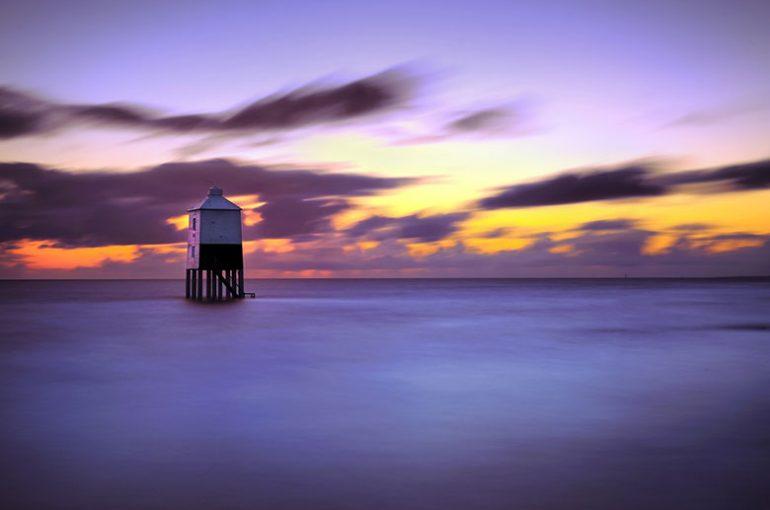 Burnham Sunset (Burnham Lighthouse at high tide)