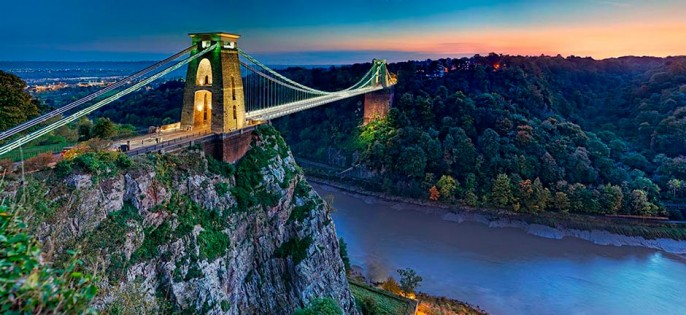 Clifton Suspension Bridge at Sunset and Abbots Leigh Woods