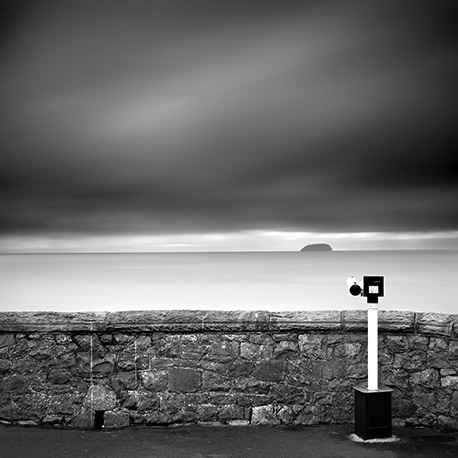 I spy Weston Super Mare and Steep Holm monochrome photograph