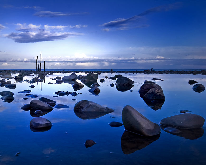 Minehead photograph blue coastal reflections