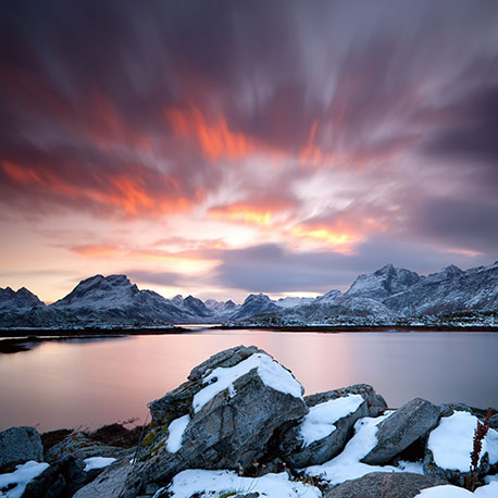 ramberg sunset norway near lofoten