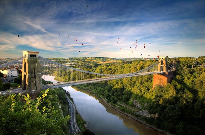 Bristol Balloon Fiesta Photograph over Clifton Suspension Bridge