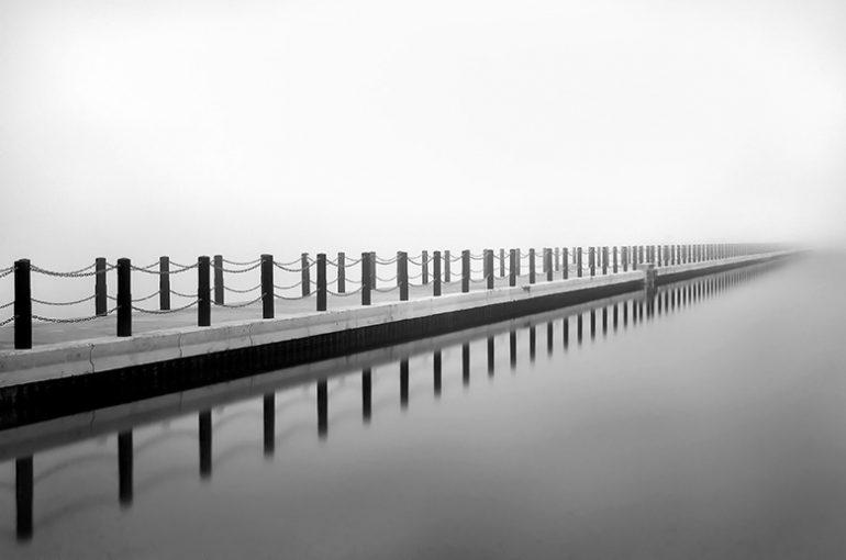 "Photograph ""Into the Mist"" Marine Lake Causeway, Weston Super Mare"